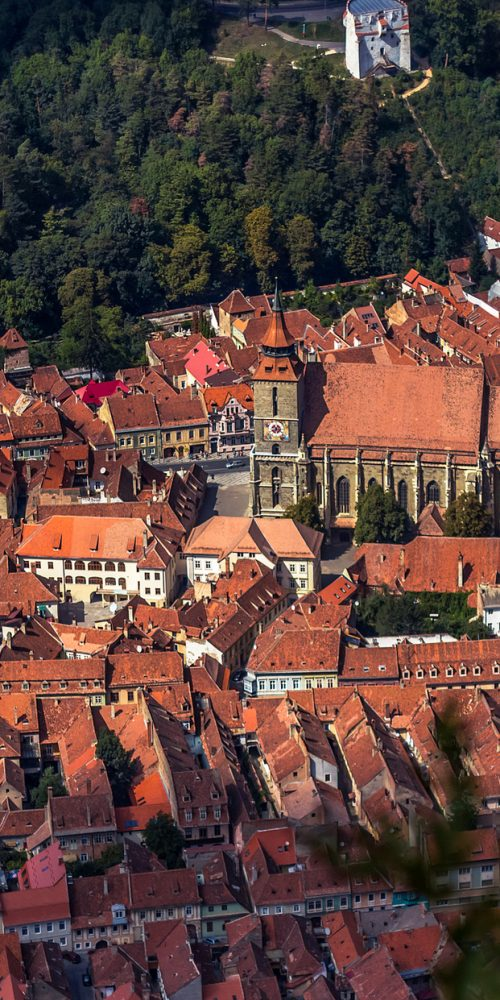 brasov old town aerial view from tampa mountain