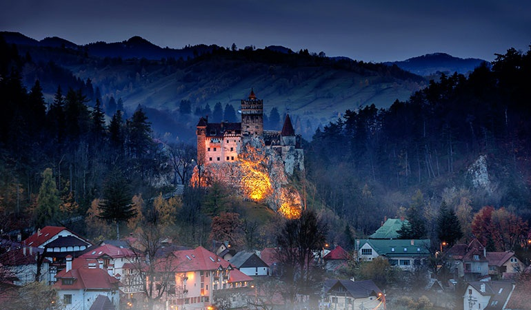 Bran Castle during Halloween night.