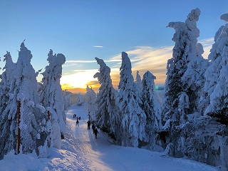 spectacular sunset in winter from Postavaru Massif